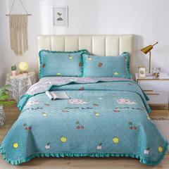 2020新款-牛奶绒床盖 单床盖200*230cm 开心兔