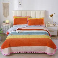 2020新款-牛奶绒床盖 单床盖200*230cm 西雅图-橘