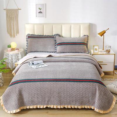 2020新款-牛奶绒床盖四件套 床盖四件套200*230cm 梵欧-灰