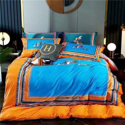 2020新款-大版数码印花水晶绒四件套 1.5m床单款四件套 策马奔腾-橘