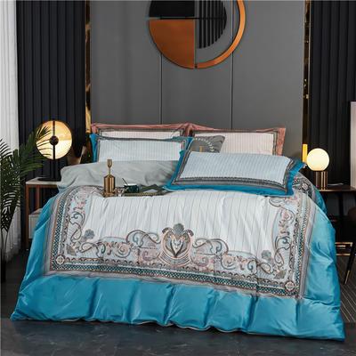 2020新款-大版数码印花水晶绒四件套 1.5m床单款四件套 罗曼-浅蓝