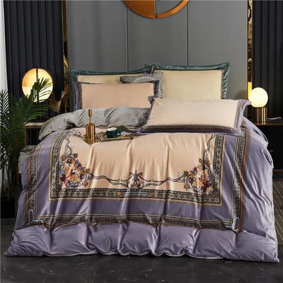 2020新款-大版数码印花水晶绒四件套 1.8m床单款四件套 马可-紫