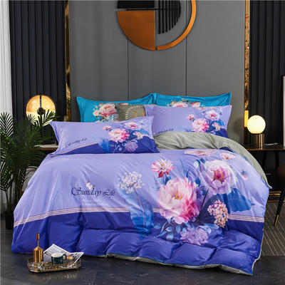 2020新款-大版数码印花水晶绒四件套 1.5m床单款四件套 蔷薇花语