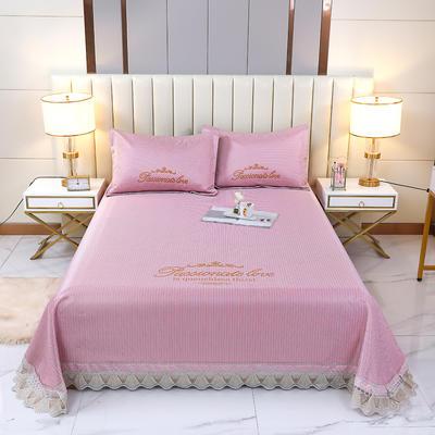 2021新款- 纯冰丝(艾草)床单款凉席 250*250cm 皇冠-皮粉色