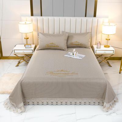 2021新款- 纯冰丝(艾草)床单款凉席 250*250cm 皇冠-轻奢黄