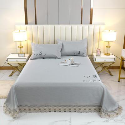 2021新款- 纯冰丝(艾草)床单款凉席 250*250cm 鹿-暮光银