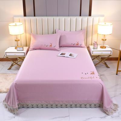 2021新款- 纯冰丝(艾草)床单款凉席 250*250cm 鹿-桃粉色