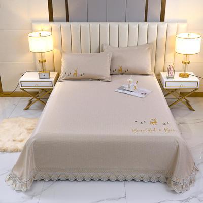 2021新款- 纯冰丝(艾草)床单款凉席 250*250cm 鹿-亚麻黄
