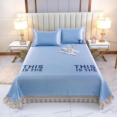 2021新款- 纯冰丝(艾草)床单款凉席 250*250cm 樱-晴天蓝