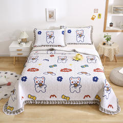 2021新款- 小清新全棉床盖款 单床盖200cm*230cm 饼干熊