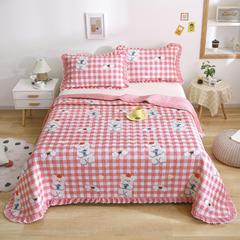 2021新款- 小清新全棉床盖款 单床盖200cm*230cm 幸运熊(粉)