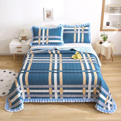 2021新款- 小清新全棉床盖款 单床盖200cm*230cm 印象空间-蓝