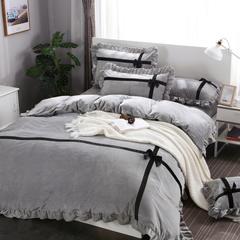 甜心公主风保暖水晶绒四件套 1.5m(5英尺)床 甜心公主—高级灰