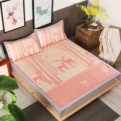 600D水洗冰丝提花三明治凉席可折叠 1.8m(6英尺)床 魔幻森林-粉