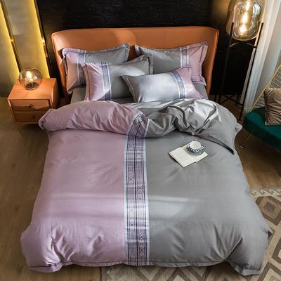 2020新款全棉磨毛数码印花四件套 1.8m床单款四件套 罗马-深紫