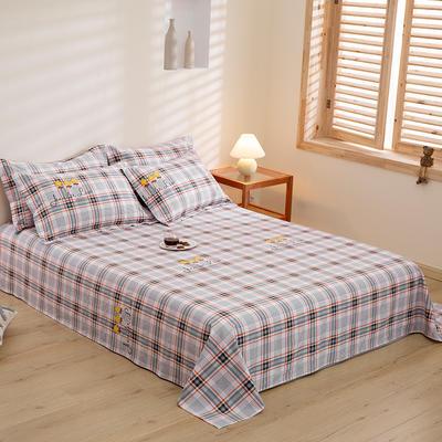 2020新款-全棉磨毛四件套单品单床单 2.45*2.7m 宝格-桔