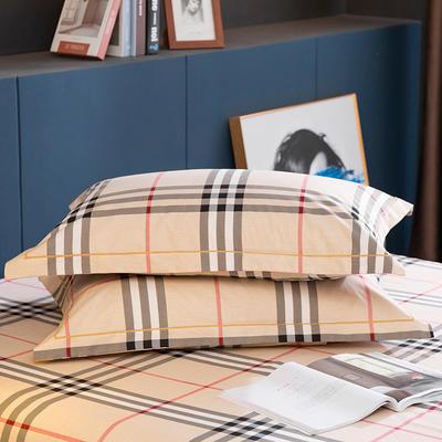 2020新款-全棉磨毛四件套单品单枕套 48*74cm/对 里约-咖