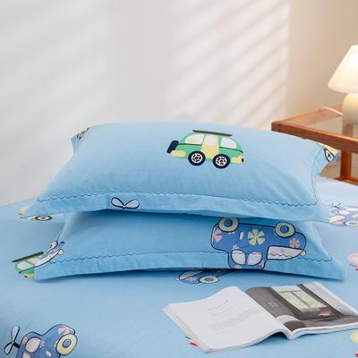 2020新款-全棉磨毛四件套单品单枕套 48*74cm/对 汽车总动员-蓝