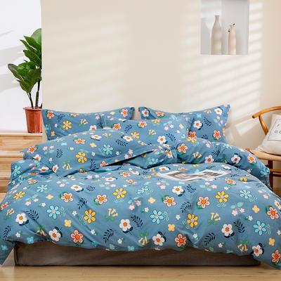 2020新款-全棉磨毛四件套 床单款四件套1.5*2.0   2.45*2.5 温情小筑-蓝