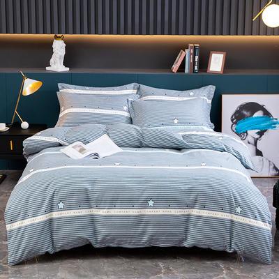 2020新款-全棉磨毛四件套 床单款四件套1.5*2.0   2.45*2.5 星河