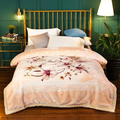 2020新款-水晶绒压花云毯加厚毛毯毯子 200cmx230cm 036杏色
