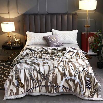 2020新款-水晶绒压花云毯加厚毛毯毯子 200cmx230cm 039驼色