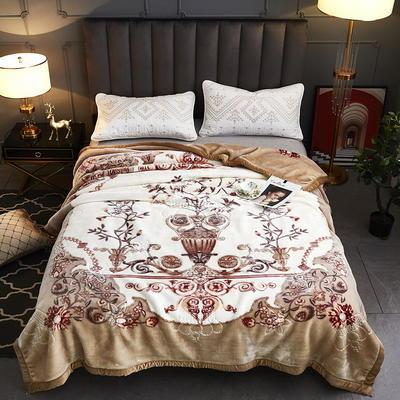 2020新款-水晶绒压花云毯加厚毛毯毯子 200cmx230cm 042米色