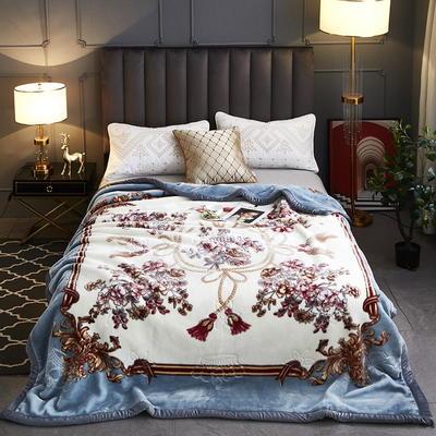 2020新款-水晶绒压花云毯加厚毛毯毯子 200cmx230cm 043浅蓝