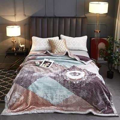 2020新款-水晶绒压花云毯加厚毛毯毯子 200cmx230cm 045灰绿