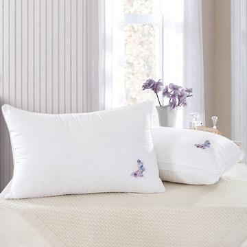 全棉 烫钻蝴蝶羽丝枕护颈保健枕芯安睡助眠枕头