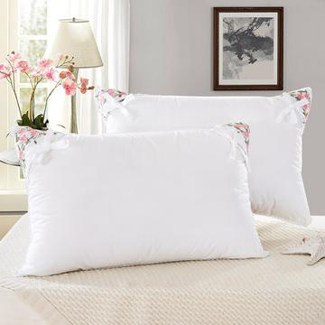 全棉茉莉花羽丝枕护颈保健枕芯安睡助眠枕头