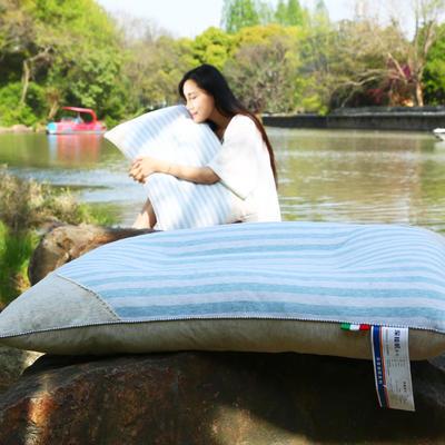 全棉彩棉定型枕 保健枕护颈保健枕芯安睡助眠枕头 蓝色