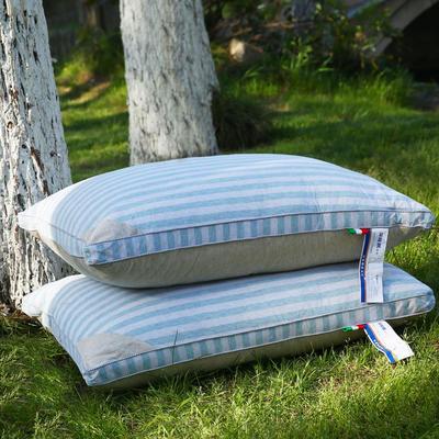 全棉 彩棉羽丝枕护颈枕保健枕芯安睡枕助眠枕头 蓝色