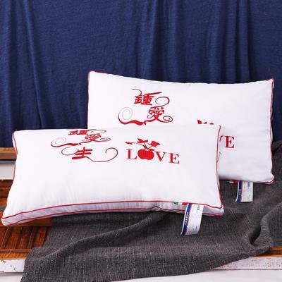 全棉枕芯婚庆钟爱一生枕头枕芯羽丝枕舒适枕保健枕 钟爱一生48*74cm