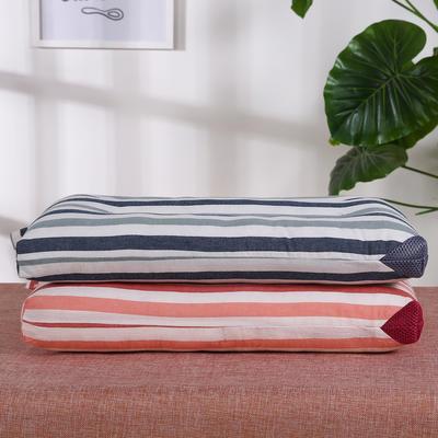 儿童枕全棉条纹水洗枕(40x60)枕头枕芯保健枕护颈枕安睡枕 红色