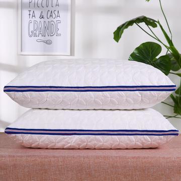 全棉绗绣蓝边羽丝枕安睡枕助眠枕枕头枕芯保健枕