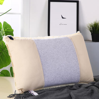 天竺棉透气网热熔水洗枕舒适枕安睡枕保健枕枕头 灰