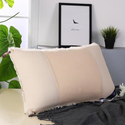 天竺棉透气网热熔水洗枕舒适枕安睡枕保健枕枕头 米黄
