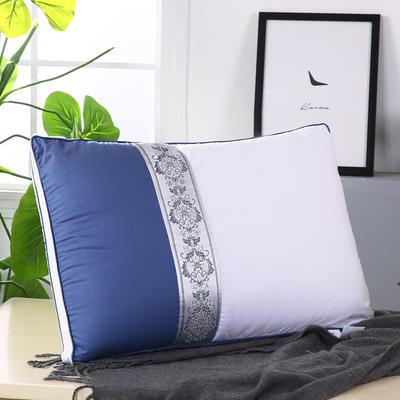 拼色織帶熱熔水洗枕安睡枕保健枕舒適枕枕頭枕芯 藍