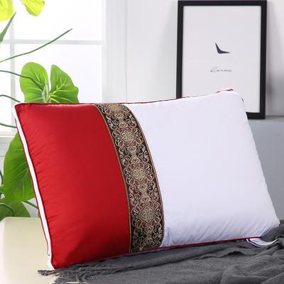 拼色織帶熱熔水洗枕安睡枕保健枕舒適枕枕頭枕芯 紅