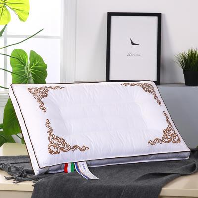 全棉奢绣羽丝定型枕舒适枕安睡枕枕芯枕头 橙色