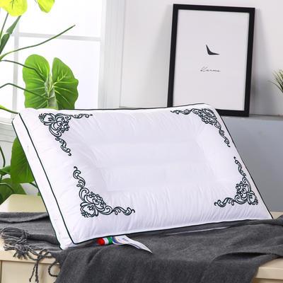 全棉奢绣羽丝定型枕舒适枕安睡枕枕芯枕头 绿色