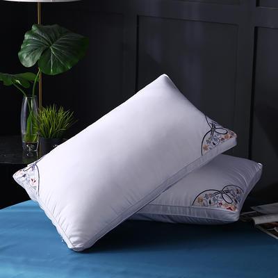 全棉立体绣花羽丝枕枕头枕芯护颈枕