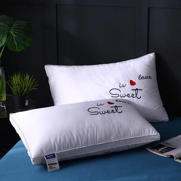 全棉花边立体绣花爱心羽丝枕保健枕枕头枕芯