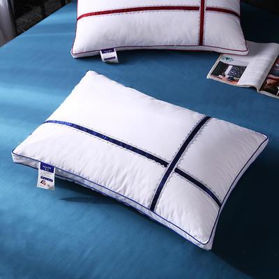 全棉立体水溶织带羽丝枕枕头枕芯保健枕 蓝色