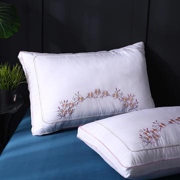 全棉立体绣梅花朵朵羽丝枕枕头枕芯保健枕