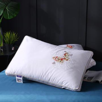 全棉立体贴布绣蝴蝶羽丝枕枕头枕芯 保健枕