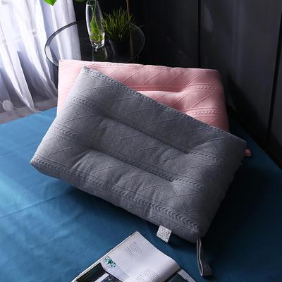 针织羽丝定型保健枕枕头枕芯护颈枕 灰