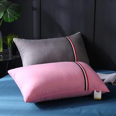 贤内助 纯色磨毛彩条舒适枕枕头枕芯护颈枕 粉