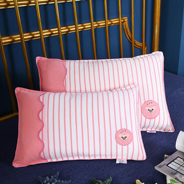 贤内助 全棉水洗拼色绣花儿童枕枕头枕芯保健枕护肩枕